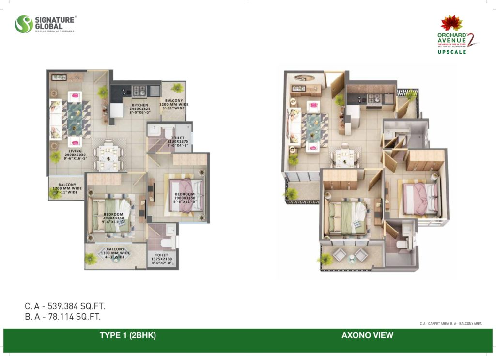 2BHK Type-1 Orchard avenue 2