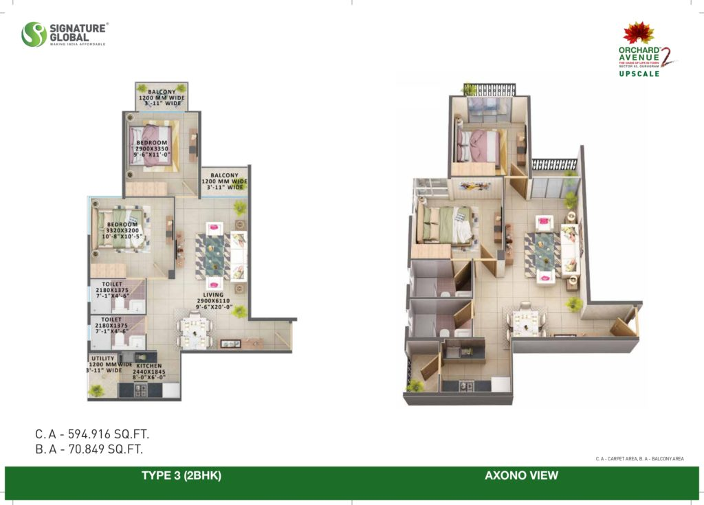 2BHK Type-3 Orchard avenue 2