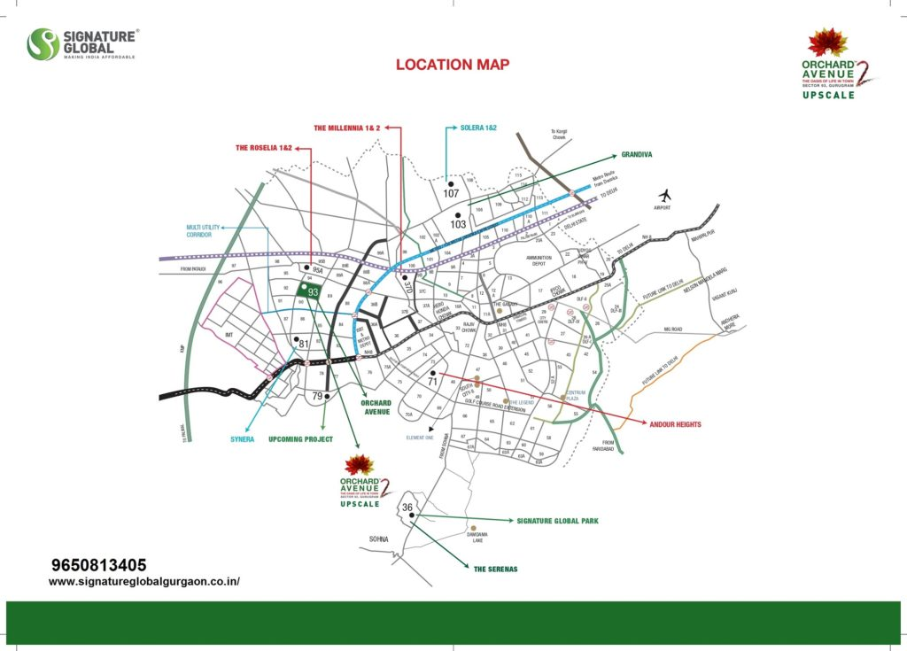 Location Map Orchard avenue 2 Sector 93 Gurugram
