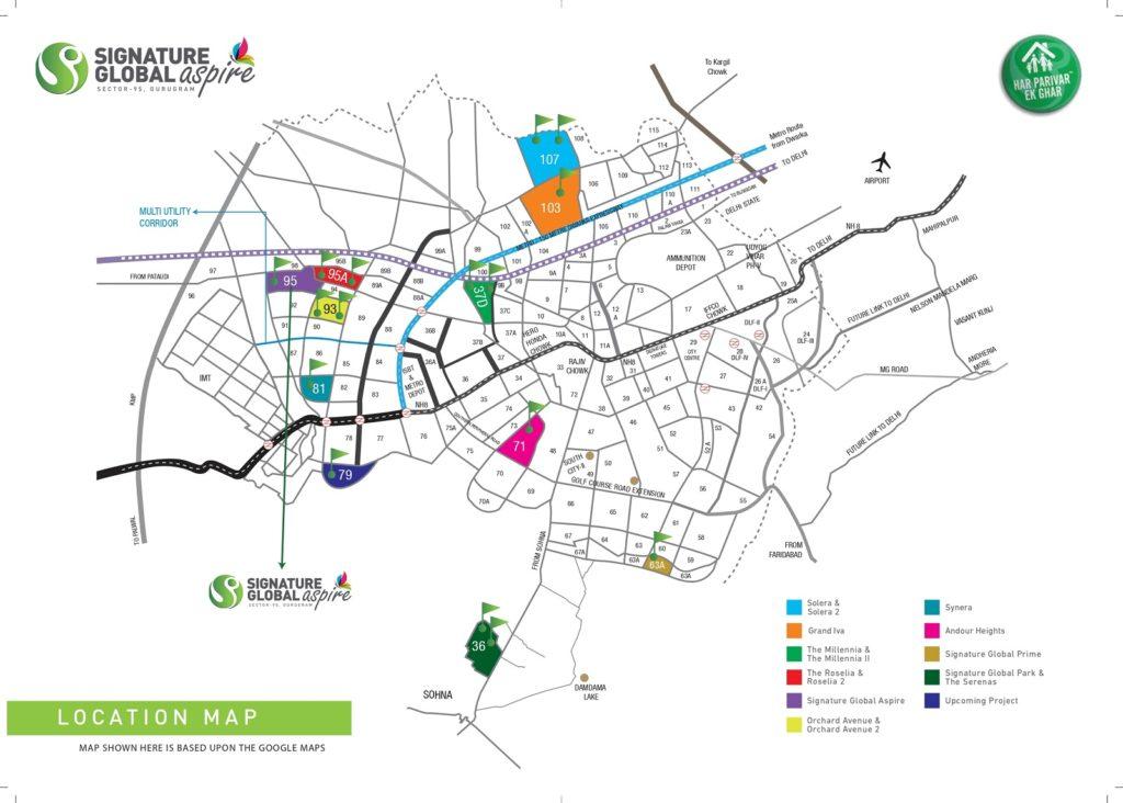 Location Map Signature Global Aspire Sector 95 Gurgaon