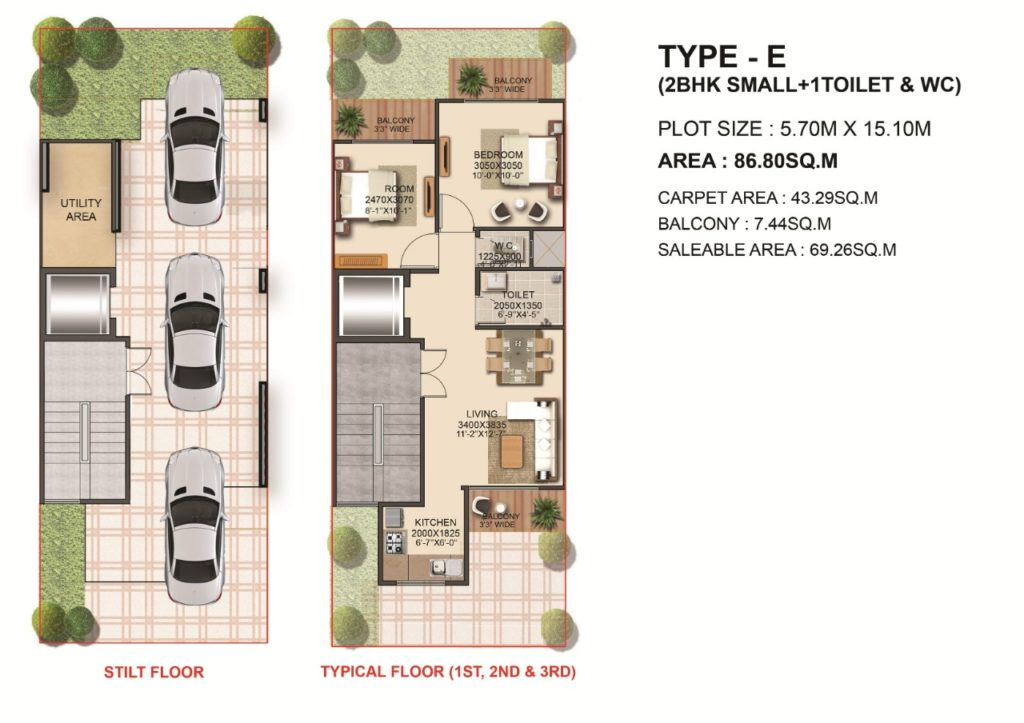 Type E 2bhk small +1T+ WC 86.80 Sqmt